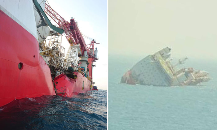 A Ship Capsizes After Colliding With An Oil Tanker In The Singapore Strait