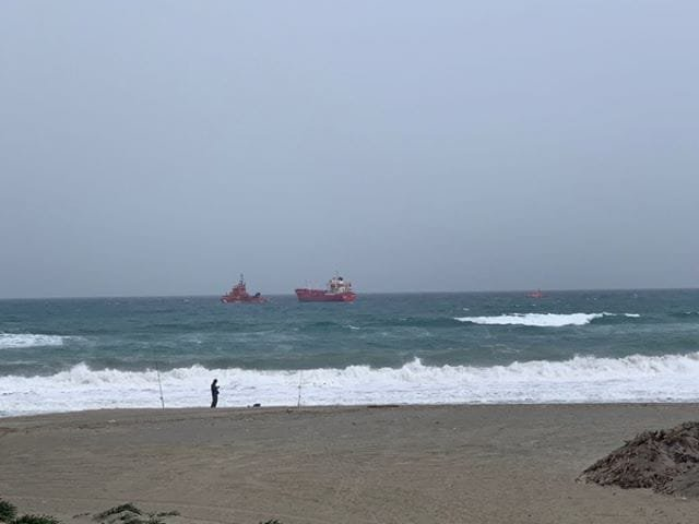 A Tanker Ship is Adrift at the Entrance to the Bay of Algeciras