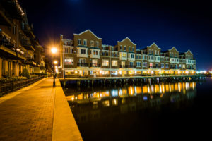 Waterfront apartment building at night in Canton Baltimore Maryland.