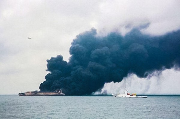 Explosion on burning oil tanker forces suspension of rescue efforts