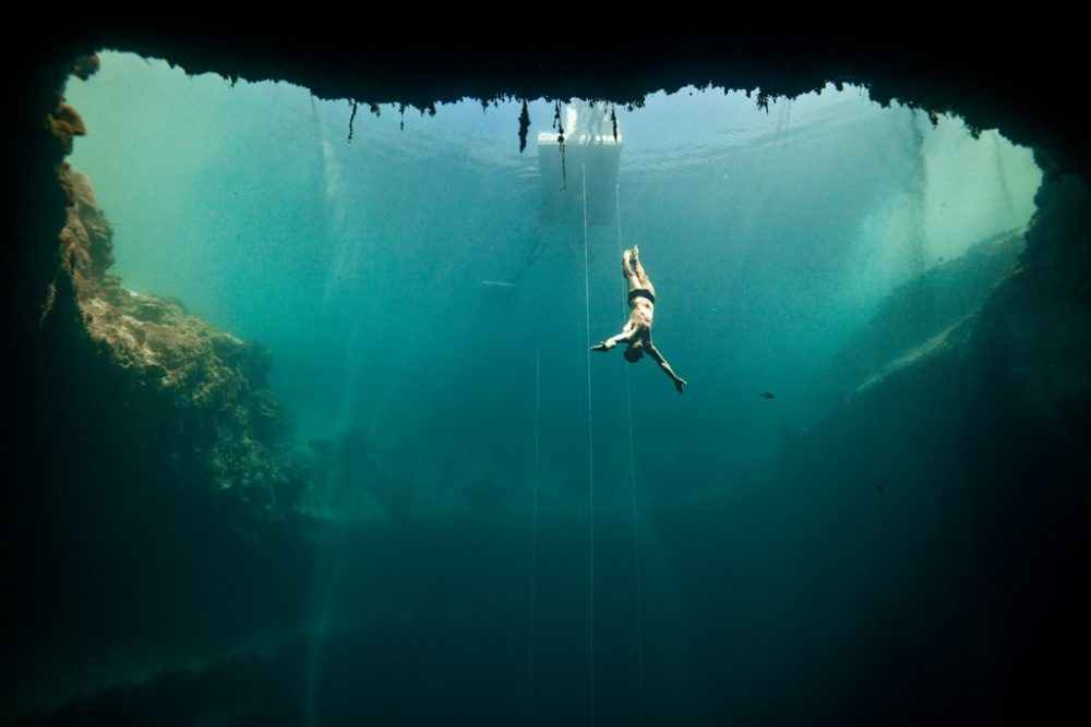 Frame of Dolphin Man in the Dean's Blue Hole of the Bahamas