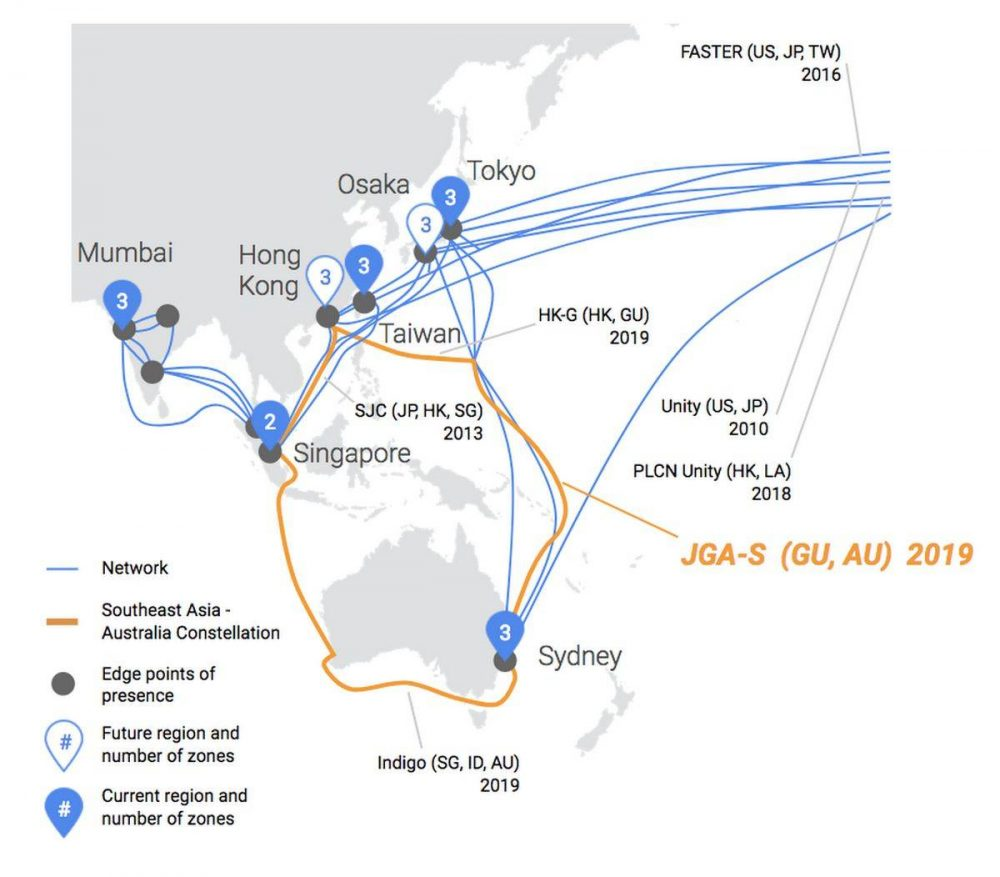 Google will build a new submarine cable that will link Japan, Guam and Australia
