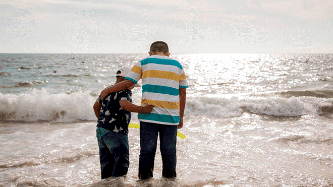 Little Boy Who Dreamed of Touching The Ocean And Building Sandcastles Dream Comes True