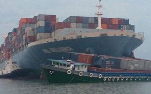 Container ship MOL Brilliance collided with coastal container barge