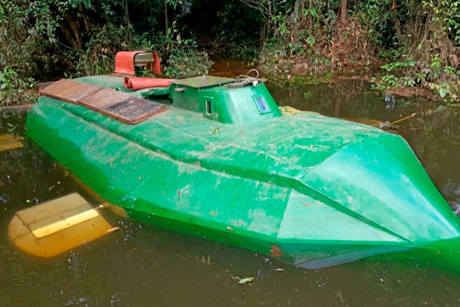 Narco-submarine intervened by the Armed Forces of Colombia