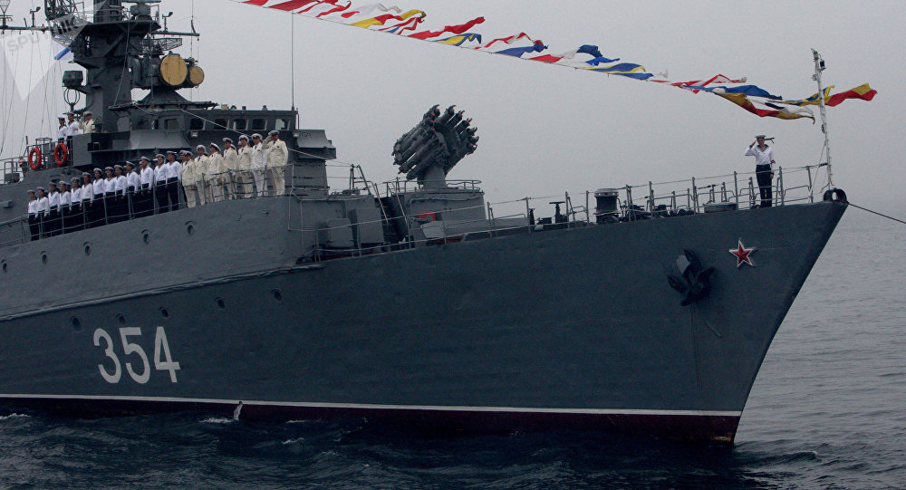 Pacific Fleet Ships Conduct Gunnery Practice in the Sea of Japan