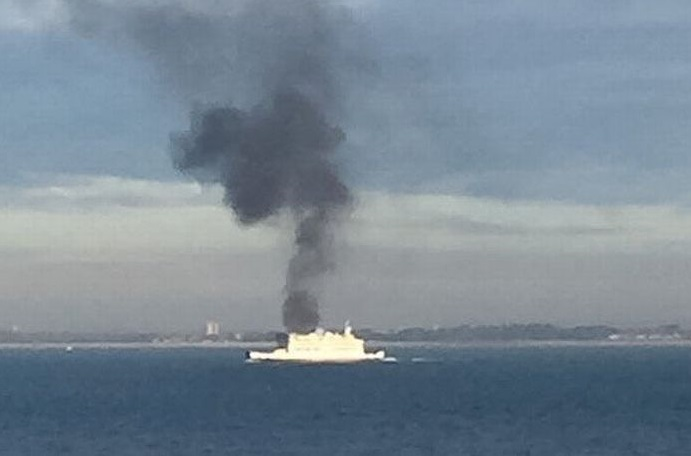 Isle of Wight ferry catches fire in the Solent