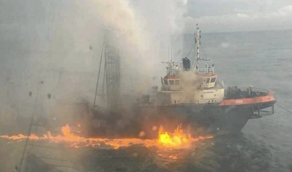 THE GEOS DRILLING SHIP IS ON FIRE