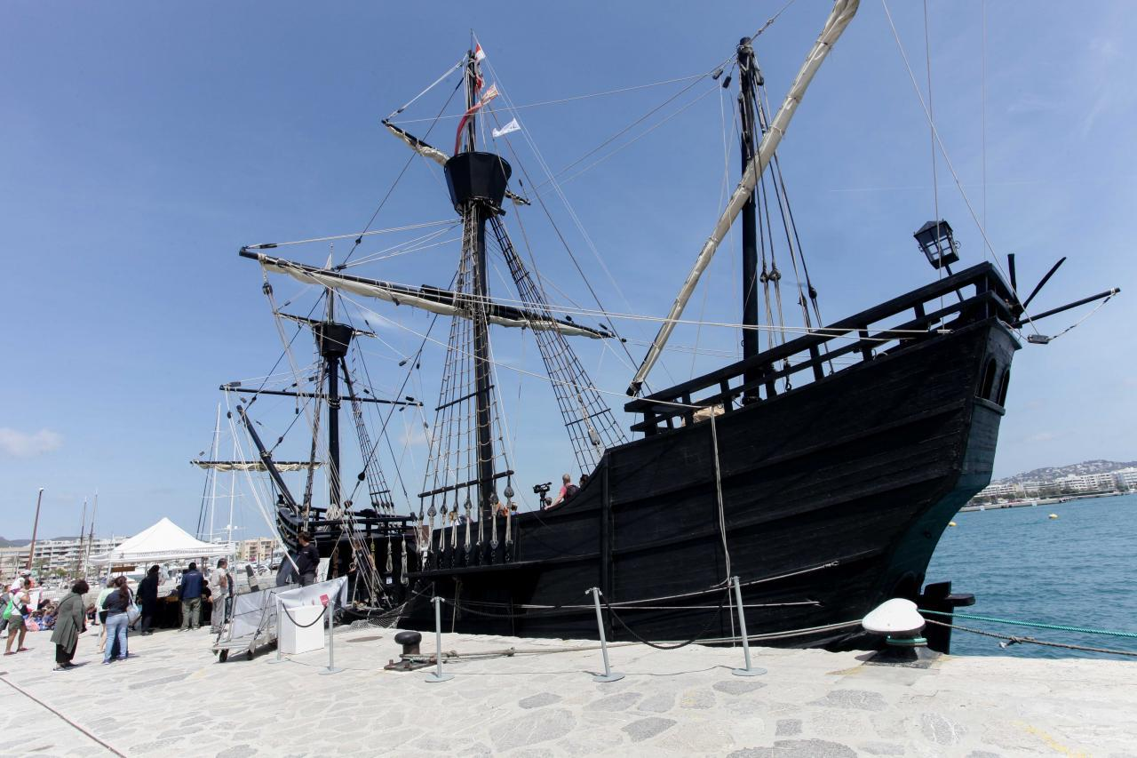 The Historical Ship Nao Victoria Arrives At The Port Of Ibiza