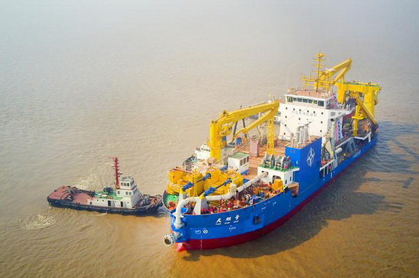 The Largest in Asia Ship For the Creation of Artificial Islands for the First Time Went to Sea