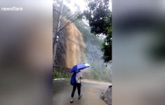 Water Cascades Down Mountainside During Philippines Floods