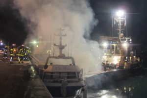 trawler Lile Maurice caught fire