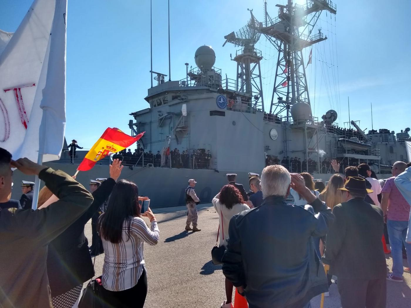 "80 Days After Leaving the National Territory ""Santa Maria"" Arrives at the Naval Base of Rota Spain"