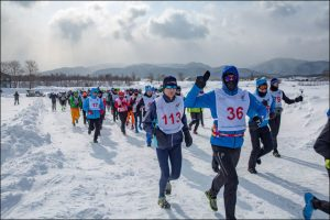 A Marathon Run Over Frozen Lake During Snow Storm In Siberia