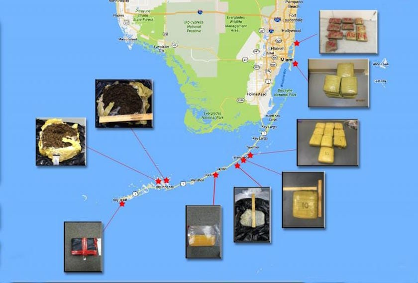 Caches of cocaine and marijuana appear in the water and shore in the Florida Keys