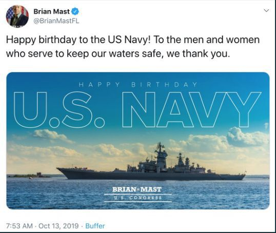 Congressman Gets Mocked For Sending Anniversary Greeting to The US Navy With Photo Of A Russian Ship
