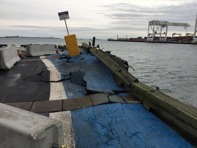 Container Breaks Free From Dock Boston