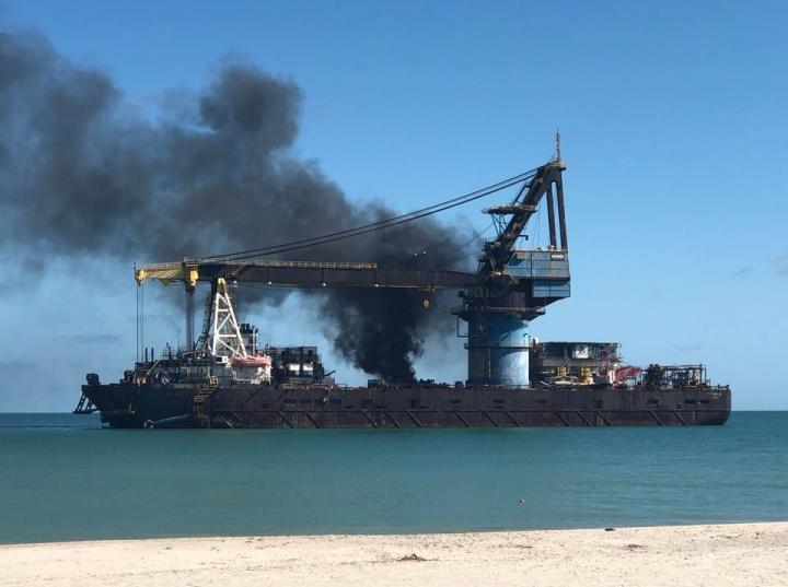 Fire of the Titan 2 Ship is the Responsibility of the ASEA and Semar: Profepa