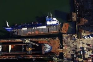 Floating dock with tanker capsized