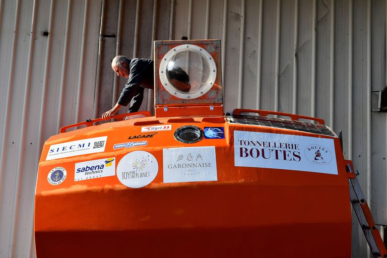 Frenchman Crosses The Atlantic Ocean In An Orange Barrel At 72 Years Young