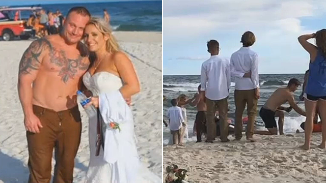 He Stops his Wedding Photo Session to Rescue a Young Man Who Was Drowning in the Sea
