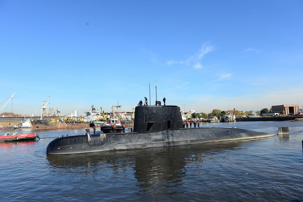 The Argentine military submarine ARA San Juan and crew are seen leaving the port of Buenos Aires