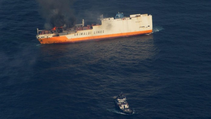 MARITIME ACCIDENT: A Ship Loaded with Thousands of Vehicles Caught Fire, Causing Its Collapse
