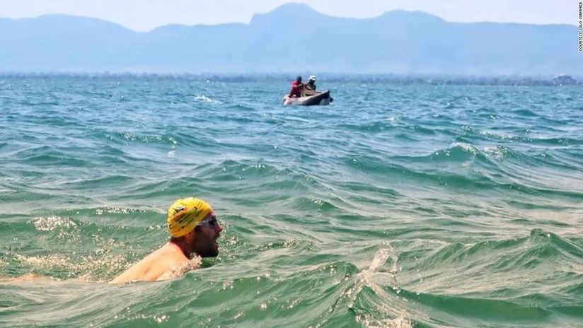 Man Swims Lake Full of Dangerous Animals and Terrible Weather For Children's Charity