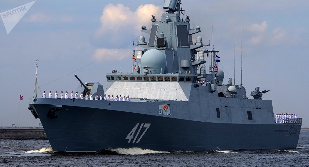 NAVY WARSHIP OF THE UNITED KINGDOM CONTINUES LIKE A SHADOW THE ADVANCE OF THE FRIGATE ADMIRAL GORSHKOV OF RUSSIA ENTERING THE ENGLISH CHANNEL