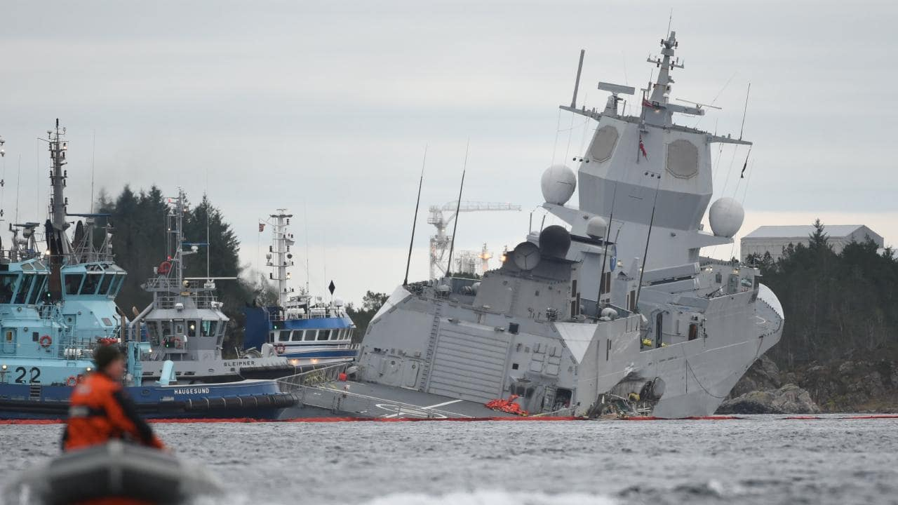 Norwegian Navy overturns a ship on purpose to try to prevent it from sinking