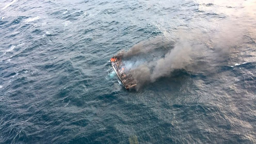 One Dead And 11 Missing In Soul Korea From The Fire On A Ship In The Waters Of Jeju Island
