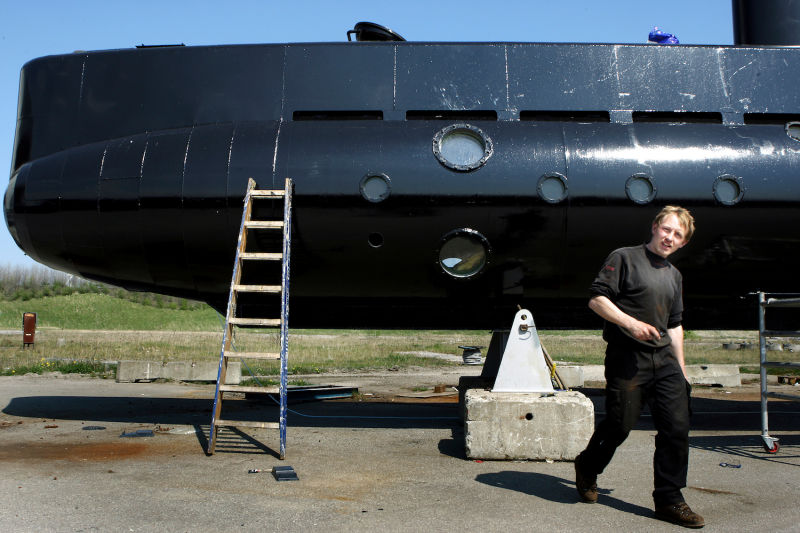 Peter Madsen and his submarine in 2008