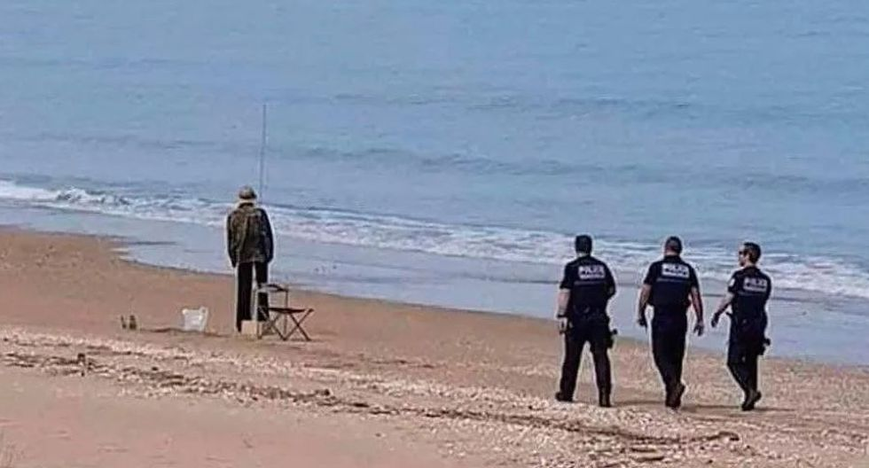 Police Arrest Fisherman On A Beach and Get An Enormous Shock