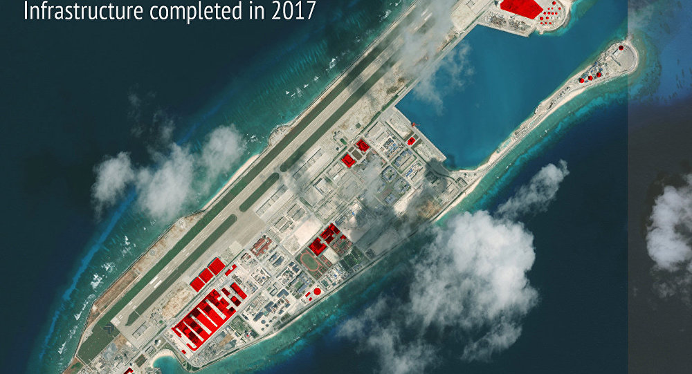 South China Sea with the construction of seven new military bases
