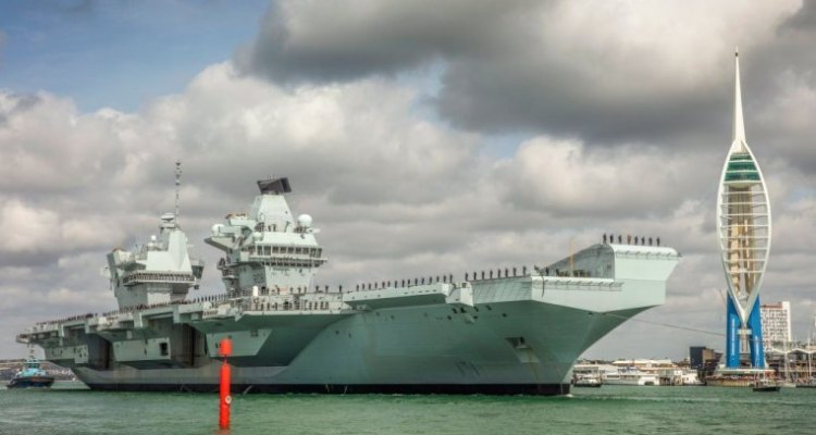 The English Aircraft Carrier HMS Queen Elizabeth Leaves For The United States To Embark For The First Time To The British F-35B