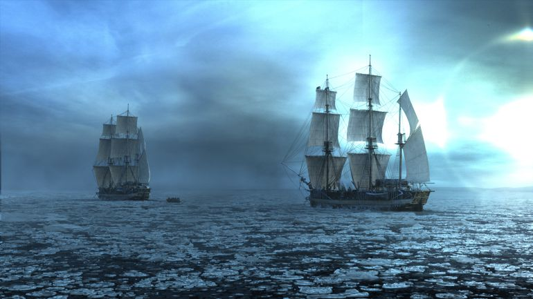 The Terror with the two expedition ships surrounded by ice