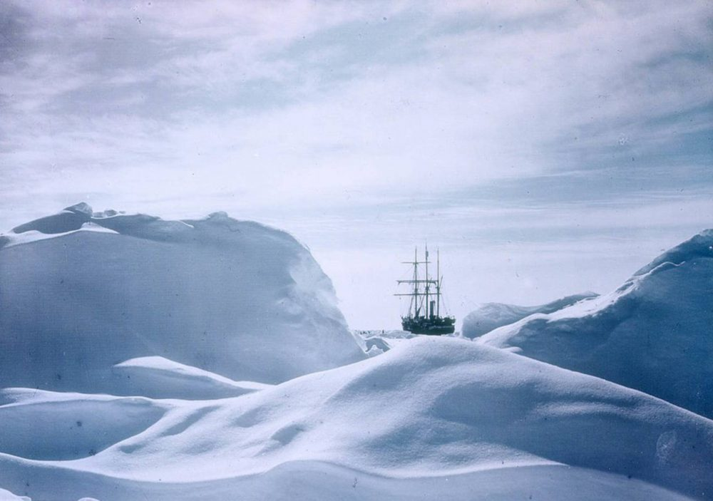 The ship 'Endurance' trapped in the ice during his legendary expedition trip to Antarctica.