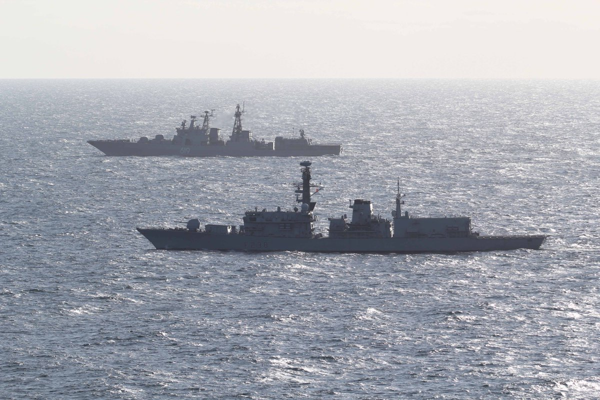 United Kingdom Warship Escorts A Russian Missile Destroyer Through The English Channel