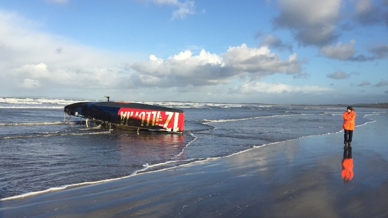 Yacht Found Washed up on Kerry Beach
