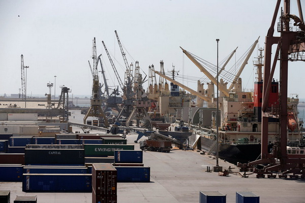 Ships are unloaded at the Red Sea port of Hodeidah