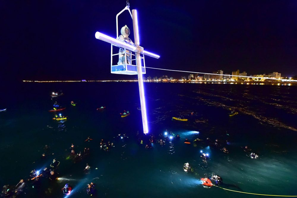 submarine Via Crucis that is celebrated in the waters of Golfo Nuevo, Puerto Madryn, Argentina.